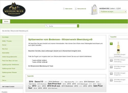 Webshop vom Winzerverein Meersburg