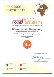 Urkunde Meersburger Fohrenberg Muskateller Bon Vinitas 2016