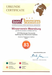 Urkunde Meersburger Sonnenufer Spaetburgunder Weissherbst Spätlese Bon Vinitas 2016