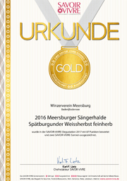 2016 Urkunde Savoir Vivre Meersburger Sängerhalde Spätburgunder Weissherbst feinherb