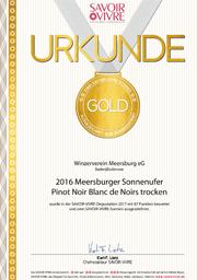 2016 Urkunde Savoir Vivre Meersburger Sonnenufer Pinot Noir Blanc de Noirs trocken