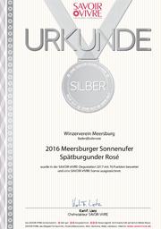 2016 Urkunde Savoir Vivre Meersburger Sonnenufer Spätburgunder Rosé