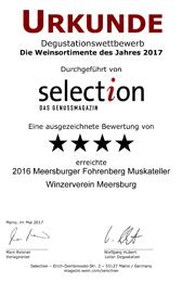2016 Urkunde Selection Meersburger Fohrenberg Muskateller