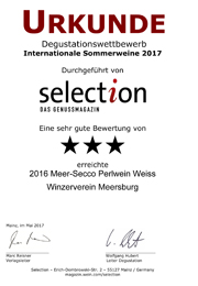 2016 Urkunde Selection Meer-Secco Perlwein Weiss