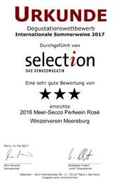 2016 Urkunde Selection Meer-Secco Perlwein Rosé