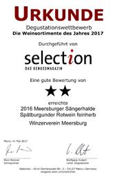 2016 Urkunde Selection Meersburger Sängerhalde Spätburgunder Rotwein feinherb