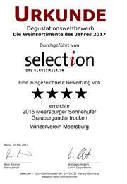 2016 Urkunde Selection Meersburger Sonnenufer Grauburgunder trocken