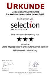 2016 Urkunde Selection Meersburger Sonnenufer Kerner trocken