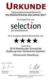 2016 Urkunde Selection Sonnenufer Spätburgunder Weissherbst Spätlese