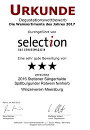 2016 Urkunde Selection Stettener Sängerhalde Spätburgunder Rotwein feinherb