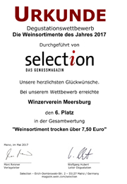 2016 Urkunde Selection Weinsortiment trocken