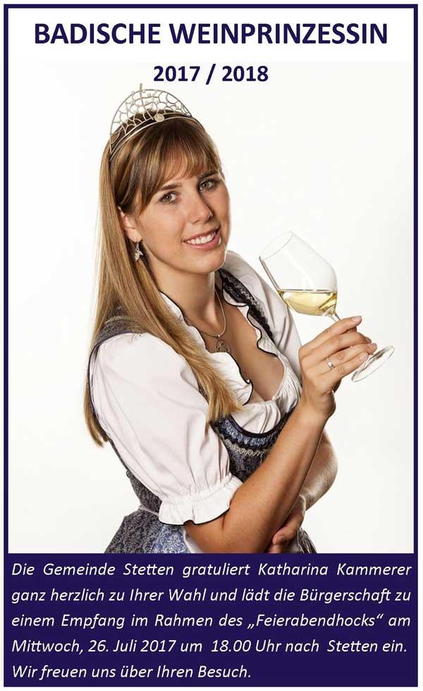 Badische Weinprinzessin Katharina Kammerer aus Stetten