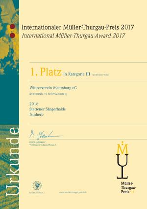 Winzerverein Meersburg Müller-Thurgau-Preis 2017 1. Platz