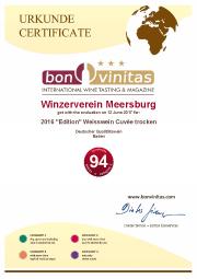 Urkunde 2016 Edition Weißwein Cuvée trocken