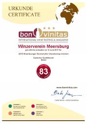 Urkunde 2016 Meersburger Sonnenufer Chardonnay trocken