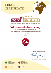 Urkunde 2016 Meersburger Sonnenufer Weißburgunder trocken
