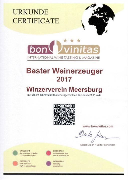 Bester Weinerzeuger 2017 Winzerverein Meersburg