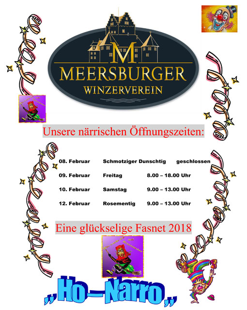 Närrische Öffnungszeiten Winzerverein Meersburg